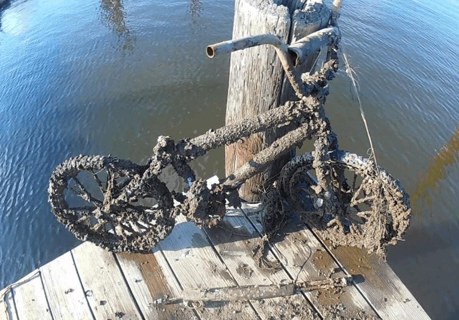 Magnet fishing úlovok - zhrdzavený bycikel