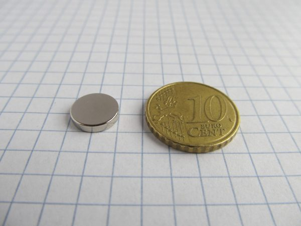 Neodymový magnet válec 10x2 mm - N38