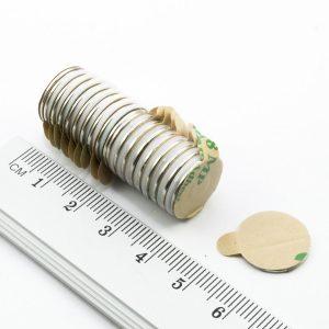 Neodymový magnet válec 15x1 mm se samolepkou - N38
