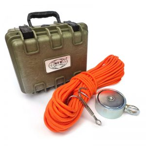 Magnet fishing set PREMIUM TRAVEL (oboustranný magnet 500 kg + hák + lano 30 metrů + přepravní box)