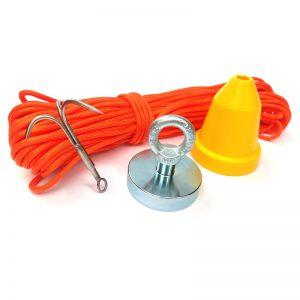 Magnet fishing set STANDARD (magnet 290 kg + ochranný kužel + hák + lano 30 metrů)
